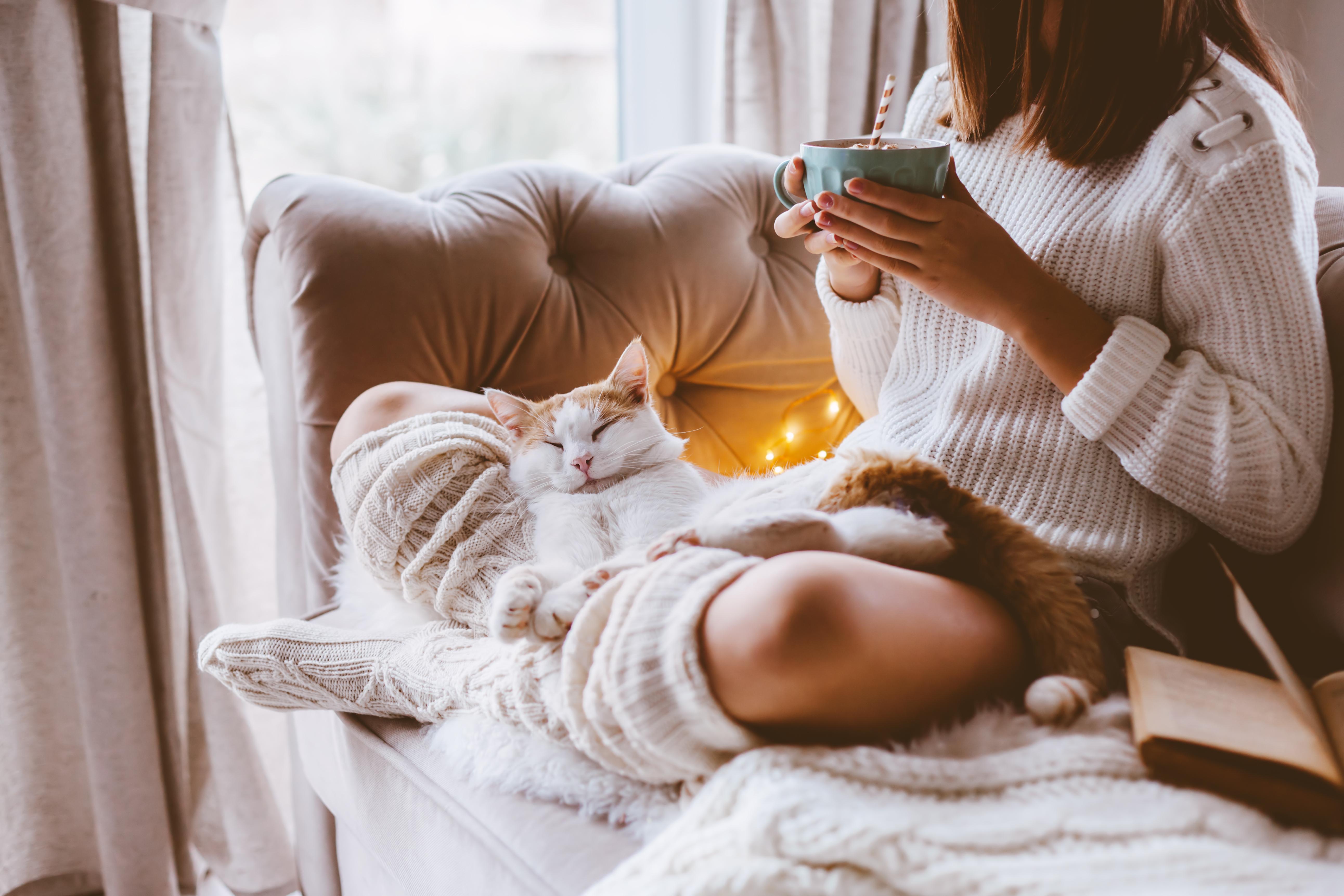 Femme dans sa maison isolée en hiver dans un environnement confortable